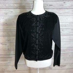 Talbots black embellish cardigan sweater petite S